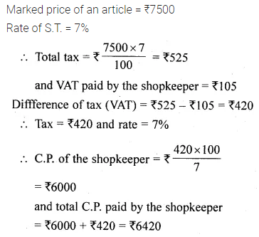 ML Aggarwal Class 10 Solutions for ICSE Maths Chapter 1 Value Added Tax Chapter Test 3