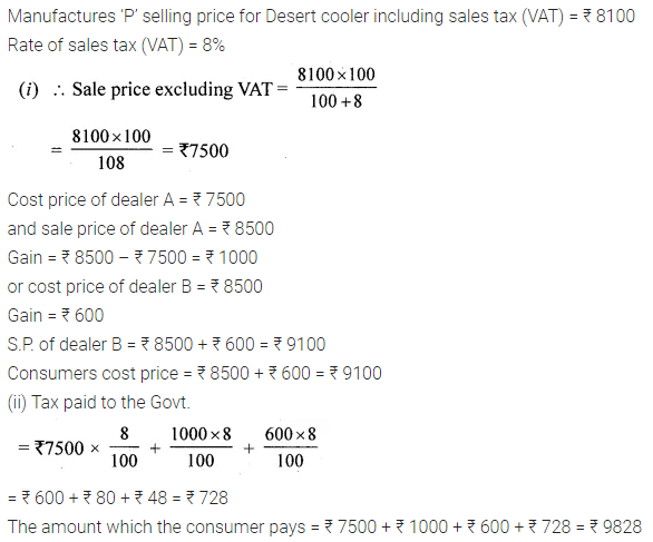 ML Aggarwal Class 10 Solutions for ICSE Maths Chapter 1 Value Added Tax Ex 1 9