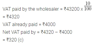 ML Aggarwal Class 10 Solutions for ICSE Maths Chapter 1 Value Added Tax MCQS 13