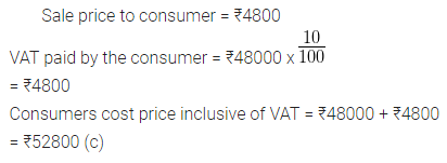 ML Aggarwal Class 10 Solutions for ICSE Maths Chapter 1 Value Added Tax MCQS 15