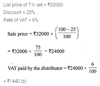 ML Aggarwal Class 10 Solutions for ICSE Maths Chapter 1 Value Added Tax MCQS 6