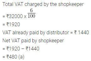 ML Aggarwal Class 10 Solutions for ICSE Maths Chapter 1 Value Added Tax MCQS 7