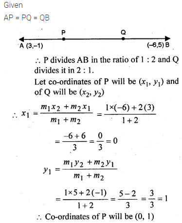 ML Aggarwal Class 10 Solutions for ICSE Maths Chapter 11 Section Formula Chapter Test 7