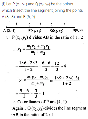 ML Aggarwal Class 10 Solutions for ICSE Maths Chapter 11 Section Formula Ex 11 5