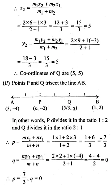 ML Aggarwal Class 10 Solutions for ICSE Maths Chapter 11 Section Formula Ex 11 6