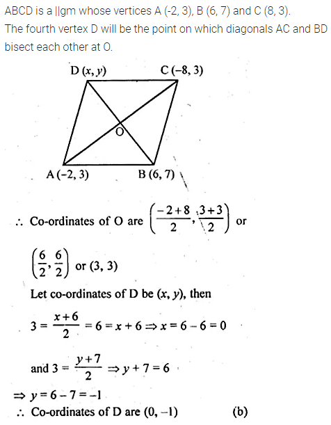 ML Aggarwal Class 10 Solutions for ICSE Maths Chapter 11 Section Formula MCQS 10