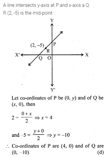 ML Aggarwal Class 10 Solutions for ICSE Maths Chapter 11 Section Formula MCQS 11