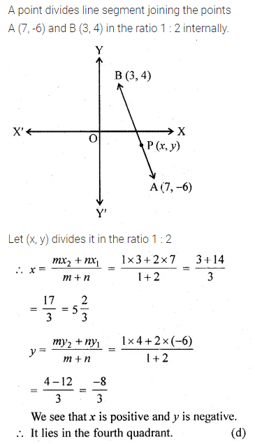 ML Aggarwal Class 10 Solutions for ICSE Maths Chapter 11 Section Formula MCQS 12