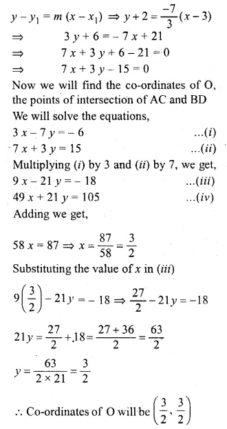 ML Aggarwal Class 10 Solutions for ICSE Maths Chapter 12 Equation of a Straight Line Chapter Test 21