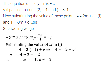ML Aggarwal Class 10 Solutions for ICSE Maths Chapter 12 Equation of a Straight Line Chapter Test 4