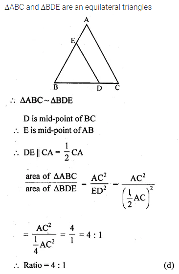ML Aggarwal Class 10 Solutions for ICSE Maths Chapter 13 Similarity MCQS 29