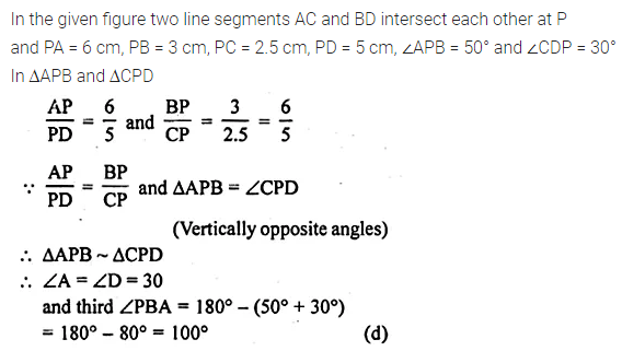 ML Aggarwal Class 10 Solutions for ICSE Maths Chapter 13 Similarity MCQS 6