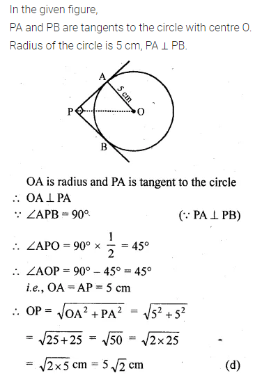 ML Aggarwal Class 10 Solutions for ICSE Maths Chapter 15 Circles MCQS 26