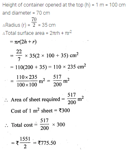 ML Aggarwal Class 10 Solutions for ICSE Maths Chapter 17 Mensuration Chapter Test 1