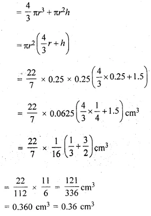 ML Aggarwal Class 10 Solutions for ICSE Maths Chapter 17 Mensuration Chapter Test 10