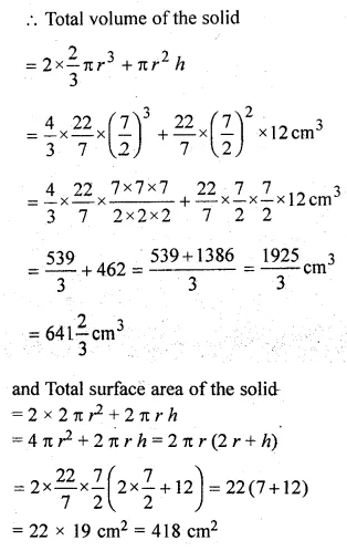 ML Aggarwal Class 10 Solutions for ICSE Maths Chapter 17 Mensuration Chapter Test 12