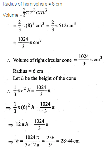 ML Aggarwal Class 10 Solutions for ICSE Maths Chapter 17 Mensuration Chapter Test 25