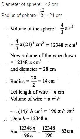 ML Aggarwal Class 10 Solutions for ICSE Maths Chapter 17 Mensuration Chapter Test 27