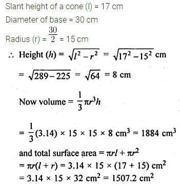 ML Aggarwal Class 10 Solutions for ICSE Maths Chapter 17 Mensuration Chapter Test 3