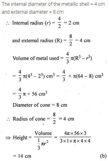 ML Aggarwal Class 10 Solutions for ICSE Maths Chapter 17 Mensuration MCQS 30