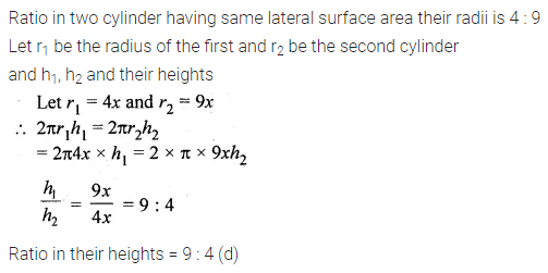 ML Aggarwal Class 10 Solutions for ICSE Maths Chapter 17 Mensuration MCQS 4