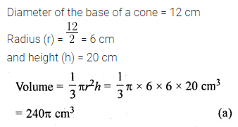 ML Aggarwal Class 10 Solutions for ICSE Maths Chapter 17 Mensuration MCQS 8