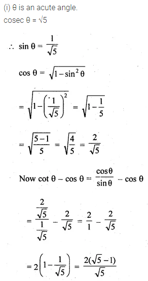 ML Aggarwal Class 10 Solutions for ICSE Maths Chapter 18 Trigonometric Identities Chapter Test 1