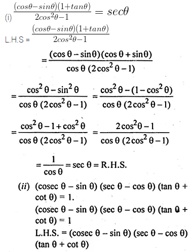 ML Aggarwal Class 10 Solutions for ICSE Maths Chapter 18 Trigonometric Identities Chapter Test 10