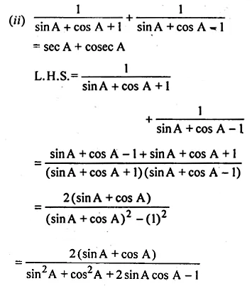 ML Aggarwal Class 10 Solutions for ICSE Maths Chapter 18 Trigonometric Identities Chapter Test 15