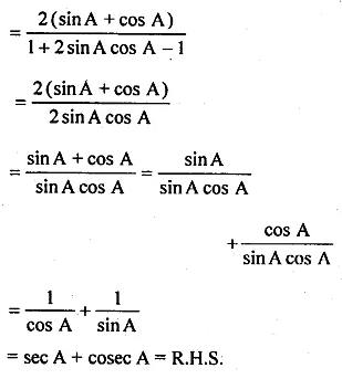 ML Aggarwal Class 10 Solutions for ICSE Maths Chapter 18 Trigonometric Identities Chapter Test 16