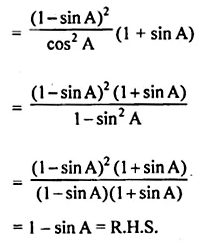 ML Aggarwal Class 10 Solutions for ICSE Maths Chapter 18 Trigonometric Identities Chapter Test 18