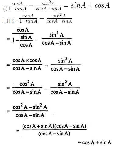 ML Aggarwal Class 10 Solutions for ICSE Maths Chapter 18 Trigonometric Identities Chapter Test 19