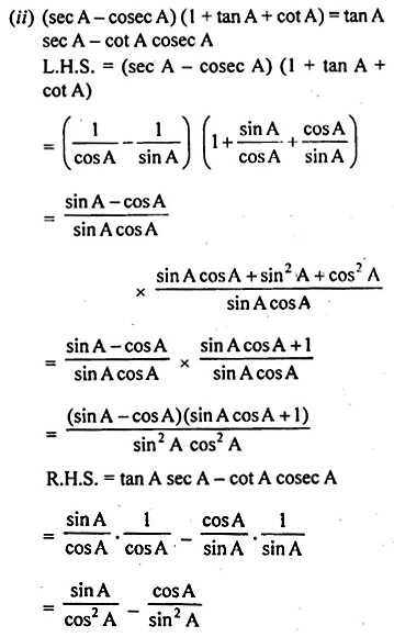 ML Aggarwal Class 10 Solutions for ICSE Maths Chapter 18 Trigonometric Identities Chapter Test 20
