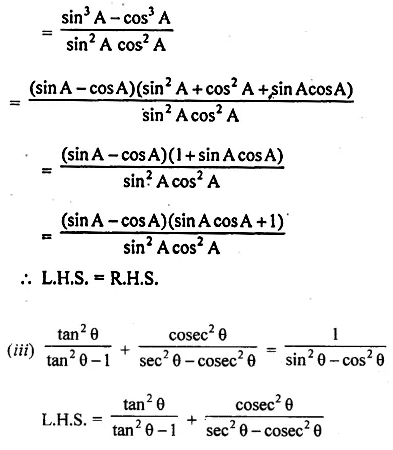 ML Aggarwal Class 10 Solutions for ICSE Maths Chapter 18 Trigonometric Identities Chapter Test 21
