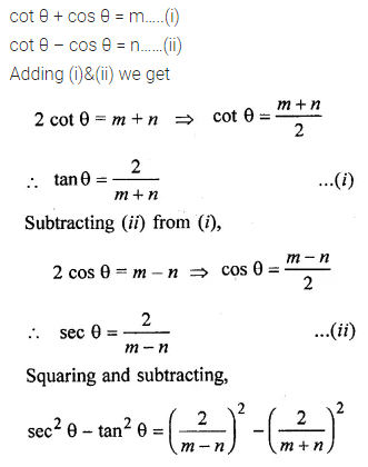 ML Aggarwal Class 10 Solutions for ICSE Maths Chapter 18 Trigonometric Identities Chapter Test 26