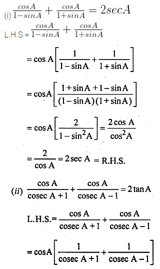 ML Aggarwal Class 10 Solutions for ICSE Maths Chapter 18 Trigonometric Identities Chapter Test 8