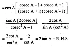 ML Aggarwal Class 10 Solutions for ICSE Maths Chapter 18 Trigonometric Identities Chapter Test 9
