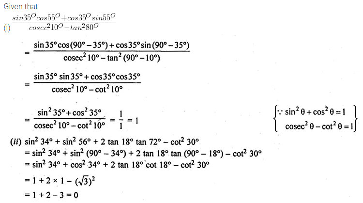 ML Aggarwal Class 10 Solutions for ICSE Maths Chapter 18 Trigonometric Identities Ex 18 12