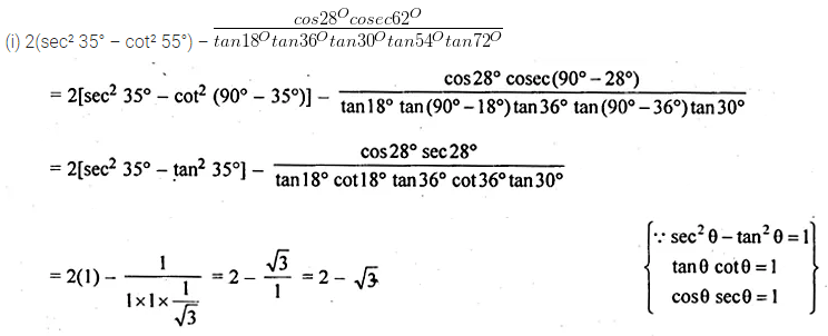 ML Aggarwal Class 10 Solutions for ICSE Maths Chapter 18 Trigonometric Identities Ex 18 14