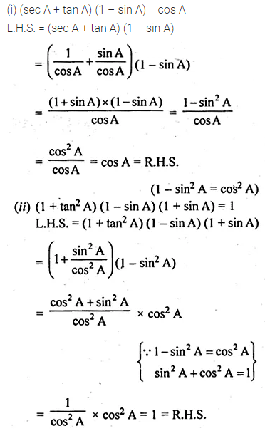 ML Aggarwal Class 10 Solutions for ICSE Maths Chapter 18 Trigonometric Identities Ex 18 19