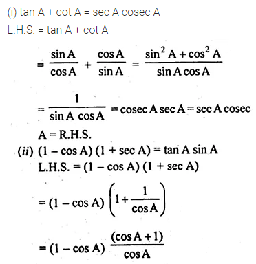 ML Aggarwal Class 10 Solutions for ICSE Maths Chapter 18 Trigonometric Identities Ex 18 20