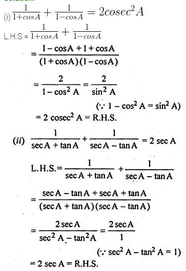 ML Aggarwal Class 10 Solutions for ICSE Maths Chapter 18 Trigonometric Identities Ex 18 22
