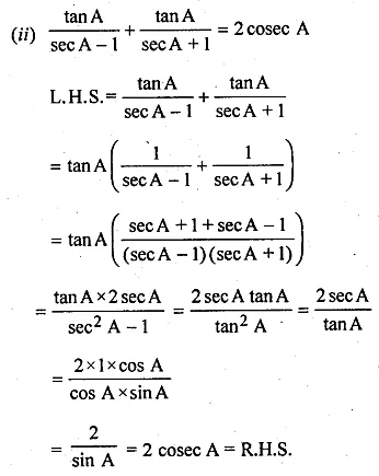 ML Aggarwal Class 10 Solutions for ICSE Maths Chapter 18 Trigonometric Identities Ex 18 28