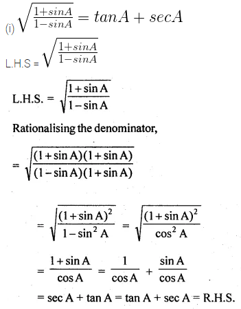 ML Aggarwal Class 10 Solutions for ICSE Maths Chapter 18 Trigonometric Identities Ex 18 39
