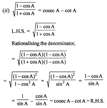 ML Aggarwal Class 10 Solutions for ICSE Maths Chapter 18 Trigonometric Identities Ex 18 40