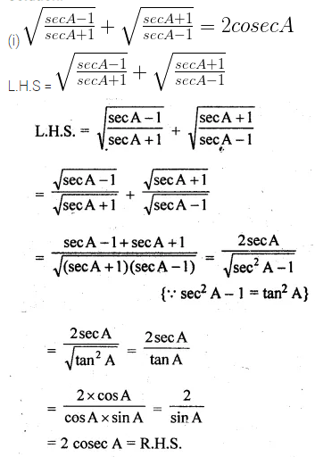 ML Aggarwal Class 10 Solutions for ICSE Maths Chapter 18 Trigonometric Identities Ex 18 41