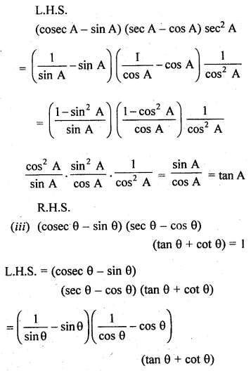 ML Aggarwal Class 10 Solutions for ICSE Maths Chapter 18 Trigonometric Identities Ex 18 50