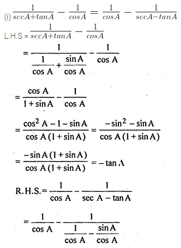ML Aggarwal Class 10 Solutions for ICSE Maths Chapter 18 Trigonometric Identities Ex 18 54