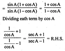 ML Aggarwal Class 10 Solutions for ICSE Maths Chapter 18 Trigonometric Identities Ex 18 57