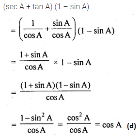 ML Aggarwal Class 10 Solutions for ICSE Maths Chapter 18 Trigonometric Identities MCQS 5